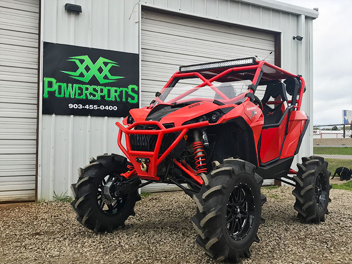 can-am maverick with xxx arched a-arms, bumper, radius rods and pull plate by xxx powersports